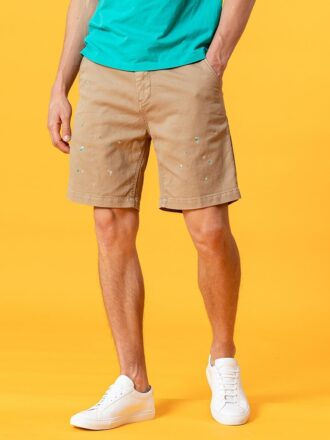 Vintage Style Paint-splattered Casual Men's Short