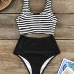 Stripe Cut Out Padded Cups One-Piece Swimsuit