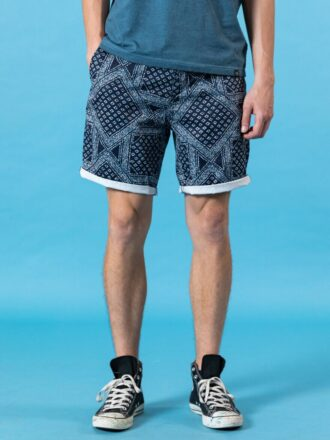 100% Cotton Bandana-Print Men's Shorts