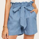 Twin Pocket Patched Belted Casual Paperbag Denim Shorts