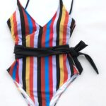 Of Discussion Stripe Tied Bow Belt One-piece Swimsuit