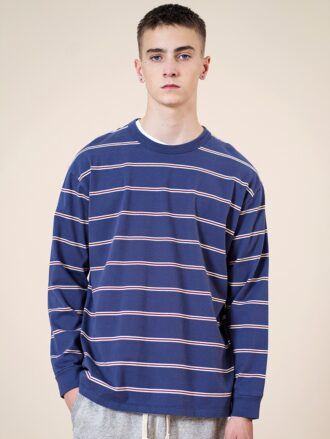 100% Cotton Drop Shoulder Striped Long Sleeve Men's T-shirt