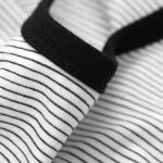 Letter Print Pinstriped Round Neck Men's T-shirt