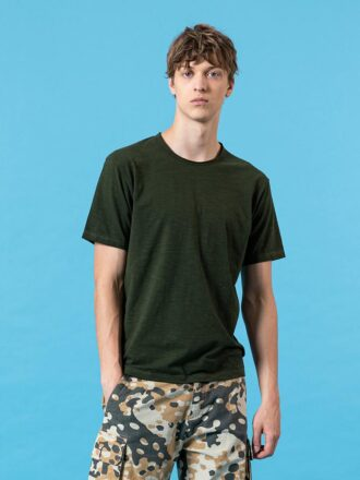 Curl Raw Neckline Slub Cotton Men's T-shirt